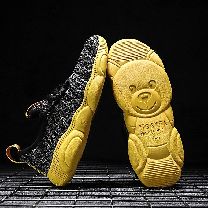 Fashion Men's casual bear breathable flying woven chaussures-jaune à prix pas cher