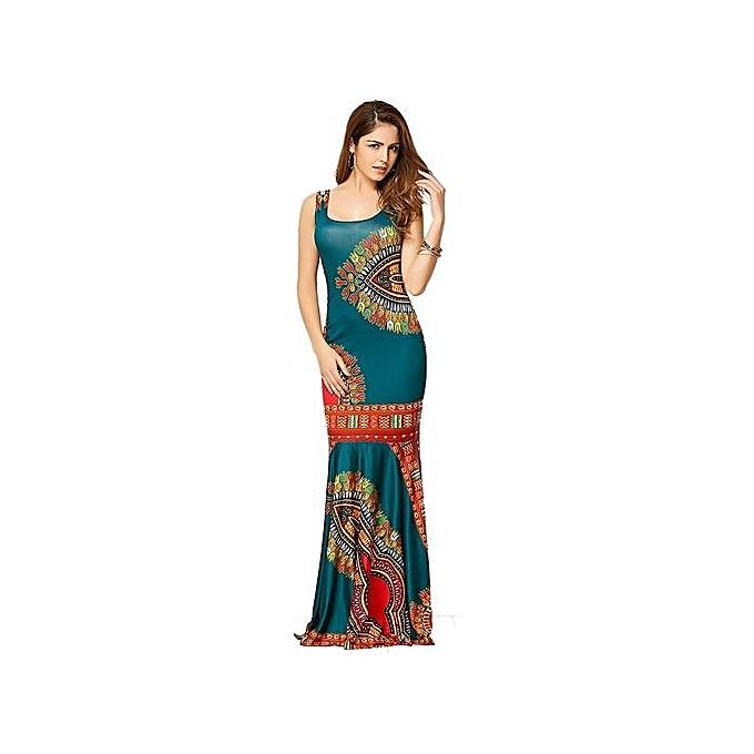 Generic HL Ethnic Print Robe (Lake bleu)(S-XL) à prix pas cher