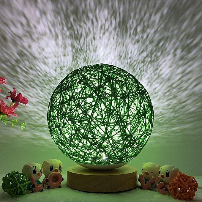 Generic Fashion Rattan Ball Night Light USB Charging Romantic Lamp for Bedroom vert à prix pas cher