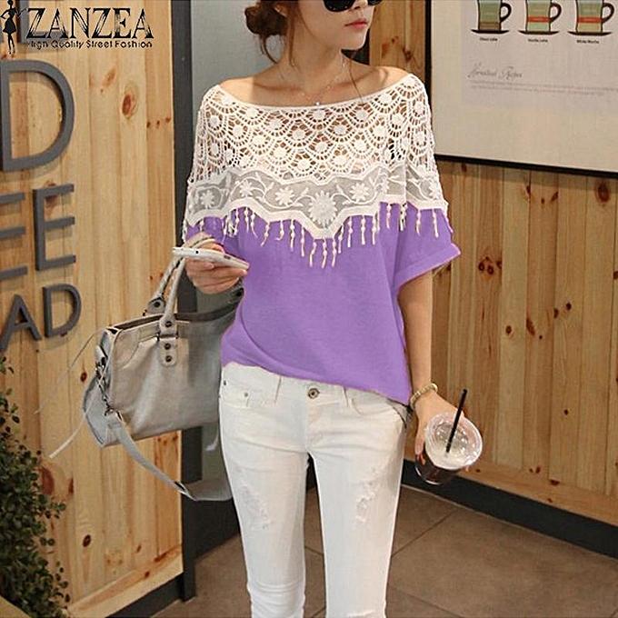 Zanzea ZANZEA femmes Fashion Summer Lace Hollow Crochet Batwing Sleeve Tops Casual Patchwork Blouse Tops bleusas Femininas Tops (violet) à prix pas cher