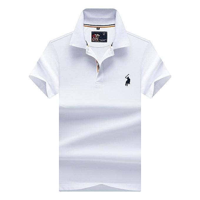 mode Hommes& 039;s Embroiderouge Affaires Lapel manche courte Polo Shirt - blanc à prix pas cher
