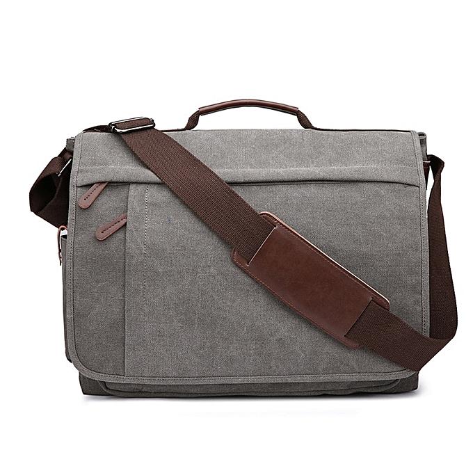 Other 2018 Brand grand capacité toile Male Briefcase Affaires Laptop sac Vintage Shoulder bandoulière sac For Hommes Messenger sacs Bolsa(gris L) à prix pas cher