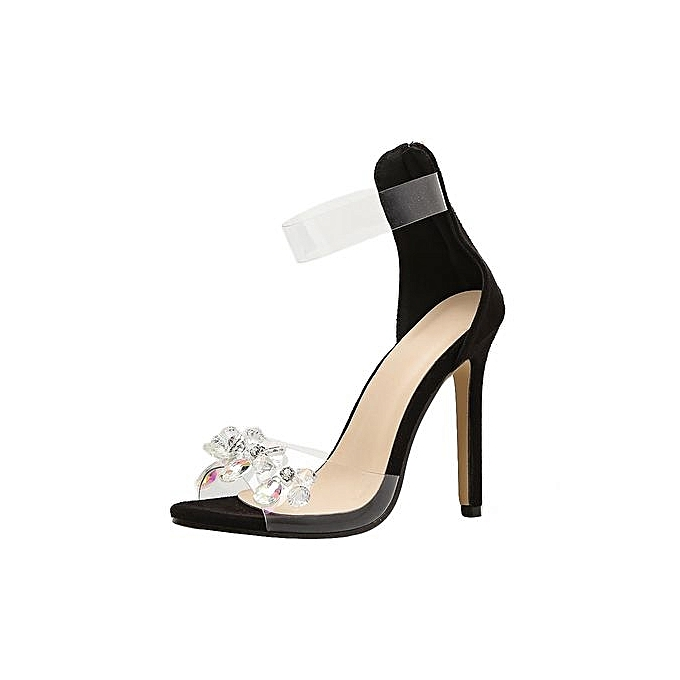 Fashion Bliccol High Heel chaussures Fashion Rhinestone Open Toed talons hauts femmes Transparent Stiletto Sandals -noir à prix pas cher