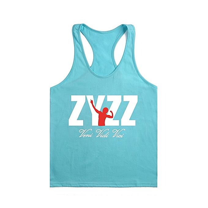 Other New Stylish Men's Summer Sportswear BodybRuilding Fitness Cotton Printed I-shaped ZYZZ Vest-Lake bleu&blanc à prix pas cher