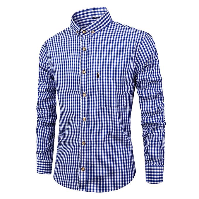 Fashion Men's Autumn New Men's Shirts Breathable Cotton Long Sleeve Plaid Shirt Casual Slim Shirt Shirt Men-Dark bleu à prix pas cher