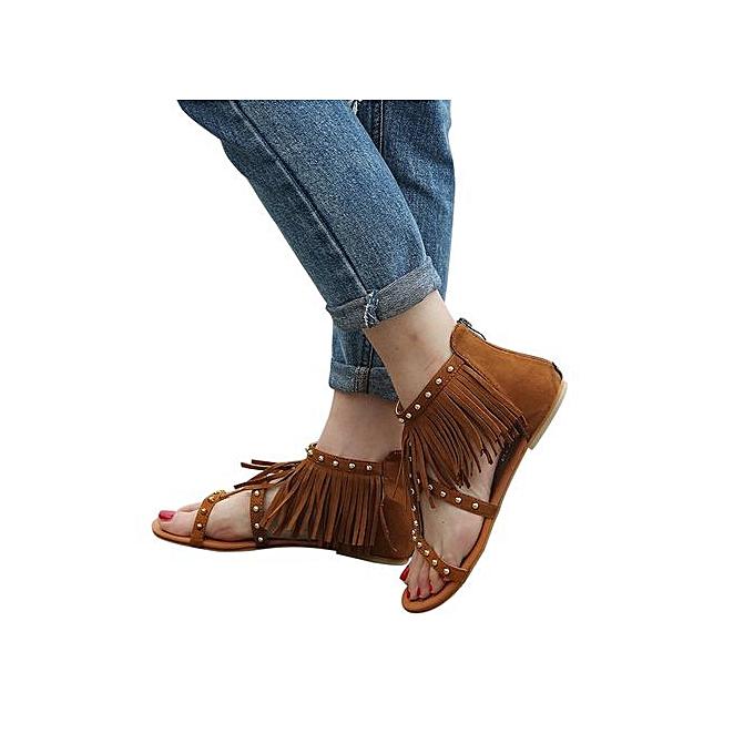 mode Hiamok_femmes mode Solid Couleur Rivet Tassels Flat Heel Sandals Rome chaussures à prix pas cher
