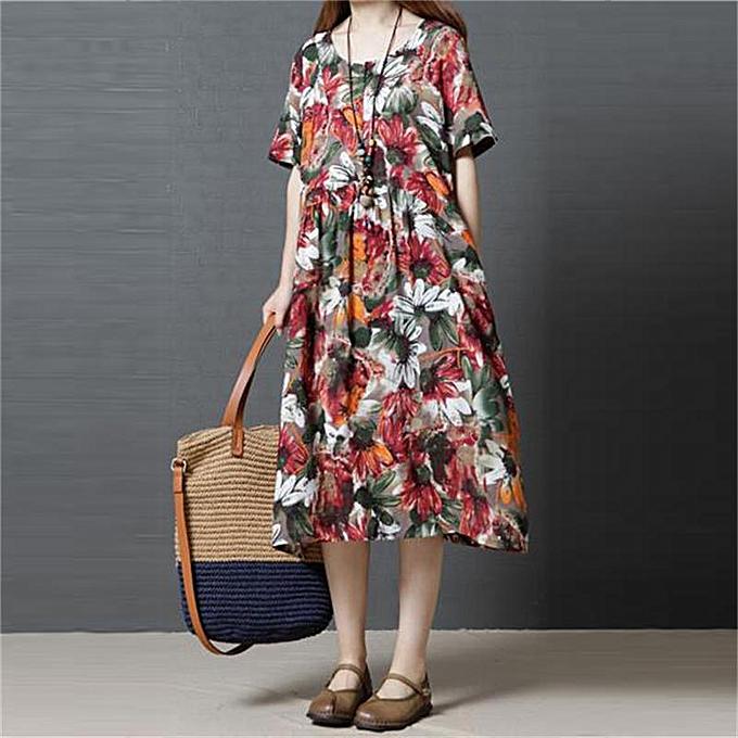 Zanzea femmes Vintage Floral Print Long Shirt Dress Kaftan OverTaille Midi Dress Plus Taille à prix pas cher