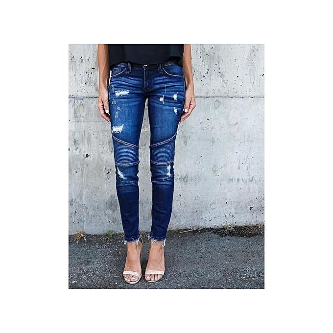 mode femmes& 039;s Western Style Slim Pleated Hole Elastic Pencil Feet Pants à prix pas cher