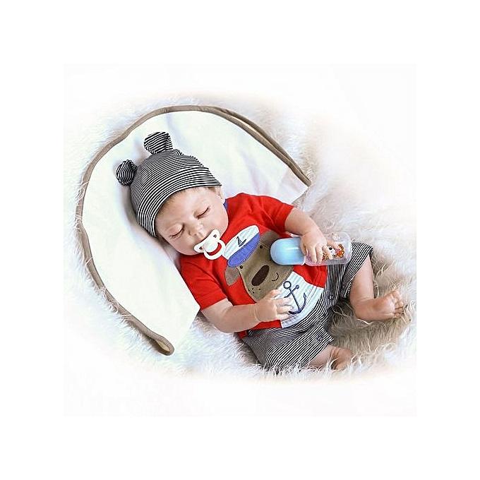 Generic DM Kawaii Soft Silicone Reborn Sleeping   Doll Lifelike nouveauborn Looks-noir & blanc & Skin Couleur à prix pas cher