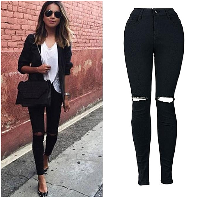 mode femmes Slim Pencil Trousers Cool Ripped Knee Cut Skinny Long Jeans Pants L à prix pas cher