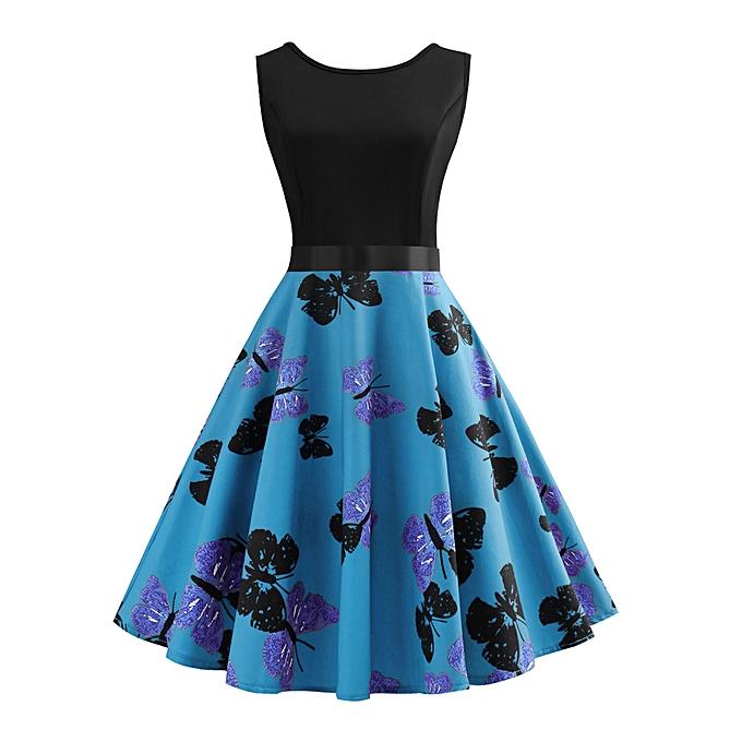 mode femmes Vintage Sleeveless O Neck papillon Printed Evening Party Prom Swing Robe à prix pas cher