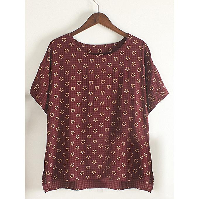 mode T-shirt à col rond imprimé à hommeches courtes pour femme à prix pas cher