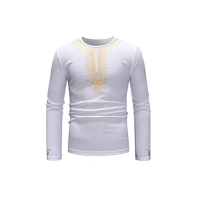 AFankara Geometric Pattern African Style Long Sleeve T-shirt - blanc à prix pas cher
