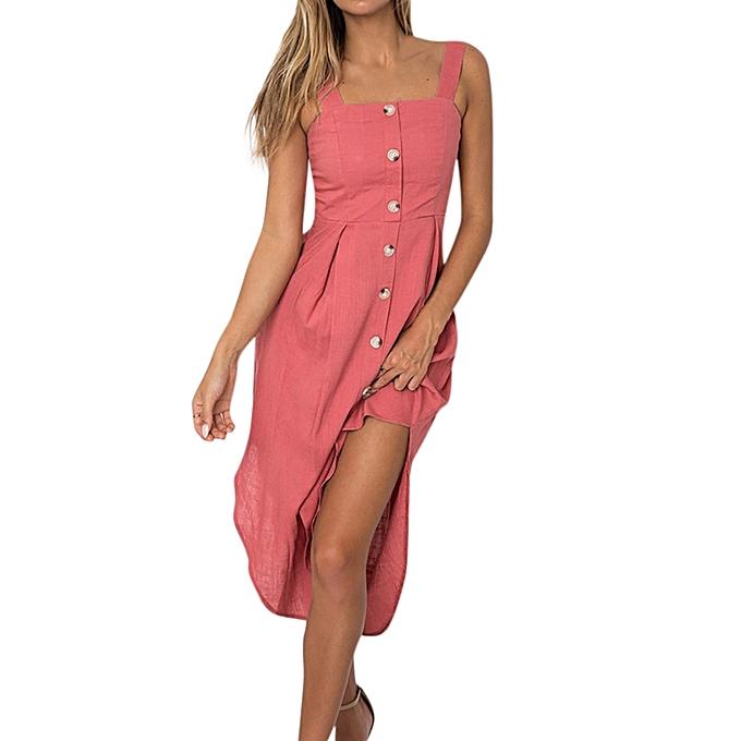 mode Sedectres Shop femmes Holiday Irregular Robe Ladies été plage Buttons Party Robe à prix pas cher