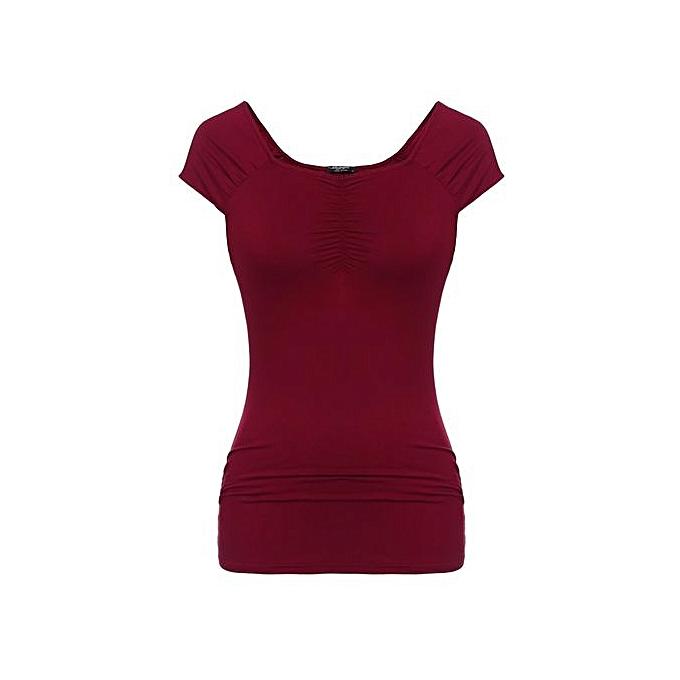 Zeagoo femmes Décontracté Square Collar manche courte Pleats Detail Solid T-Shirt-Wine rouge à prix pas cher