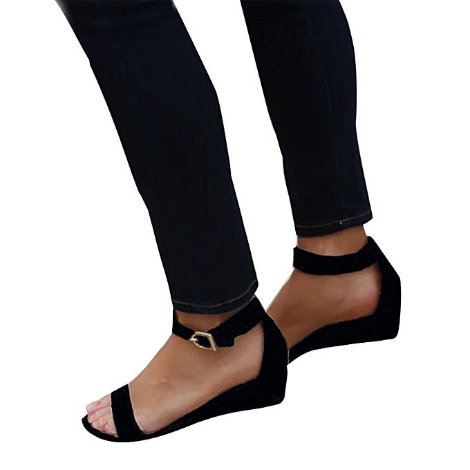 Fashion Hiamok femmes Ladies Summer Rohomme chaussures Buckles Wedges Ankle Strap Sandals à prix pas cher    Jumia Maroc