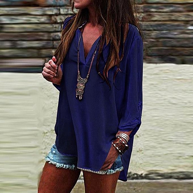 Other femme nouveau Loose Plus Taille Pure V-collar irregular sleeve fat MM veste-Navy bleu à prix pas cher