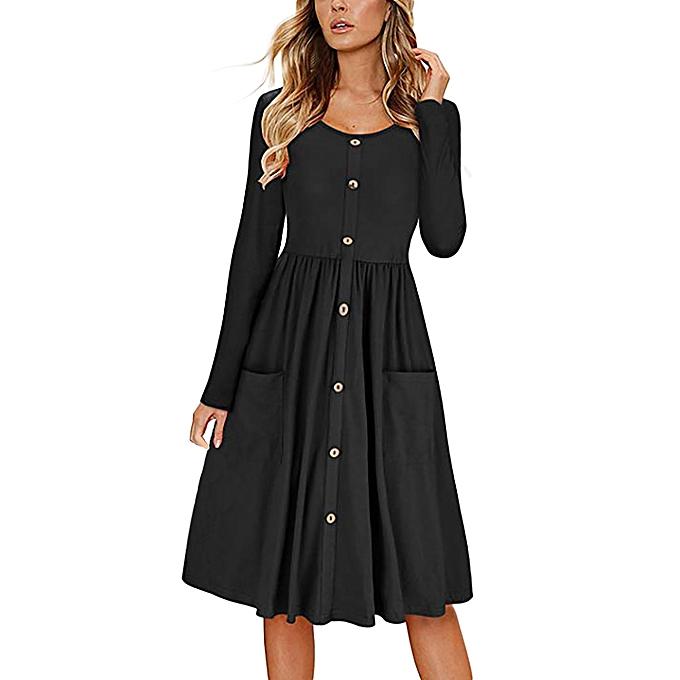Generic Xiuxingzi femmes Solid O Neck Button Dress Long Sleeve Pocket Casual  Beach Long Maxi Dress à prix pas cher