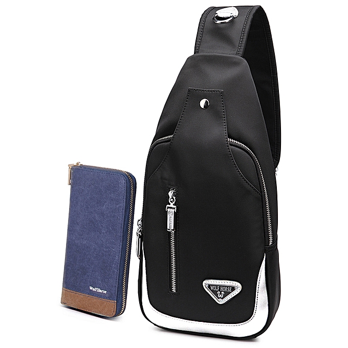 UNIVERSAL Men Military Messenger Bag Casual Outdoor Travel Rucksack Hiking Sport Chest Bag Canvas Small Crossbody Shoulder Back Pack(noir&blanc-1) à prix pas cher