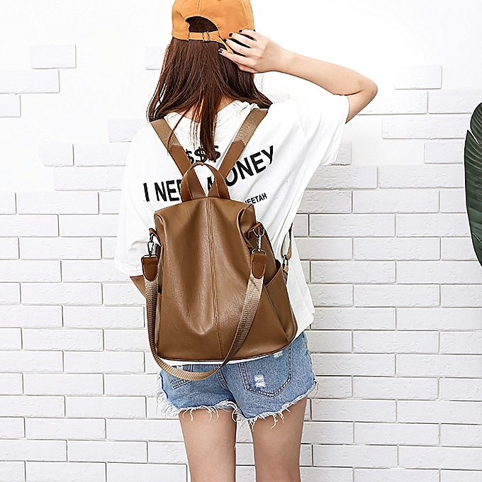 Fashion quanxinhshang_femme Anti-theft Backpack Bag Casual Wild Soft Leather Dual-use Small Backpack à prix pas cher
