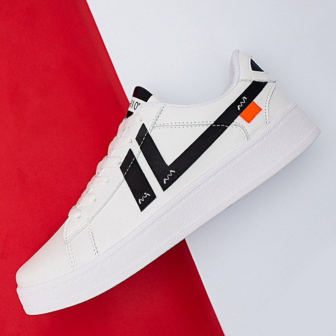 Other New Men's Spring New Korean Casual Super Fiber Flat blanc chaussures-noir à prix pas cher