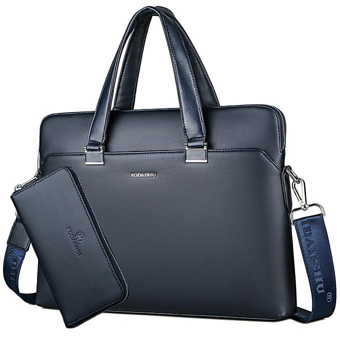 Other BERAGHINI Business Men Briefcase Bag PU Leather Luxury Designer Laptop Bag Office Large Capacity Briefcase Male Shoulder Bags(bleu) à prix pas cher