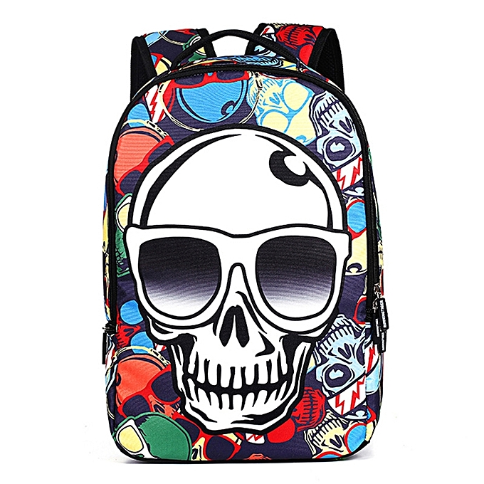 UNIVERSAL Couleur Skull Pattern Print Travel Backpack School Shoulders Bag, Taille  48cm x 31cm x 15cm à prix pas cher