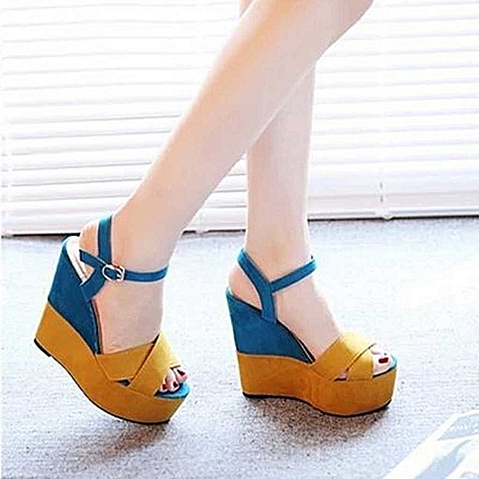 Fashion Ladies Mixed Couleurs Buckle Peep Toe Wedges Casual Loafers Sandals chaussures-jaune à prix pas cher