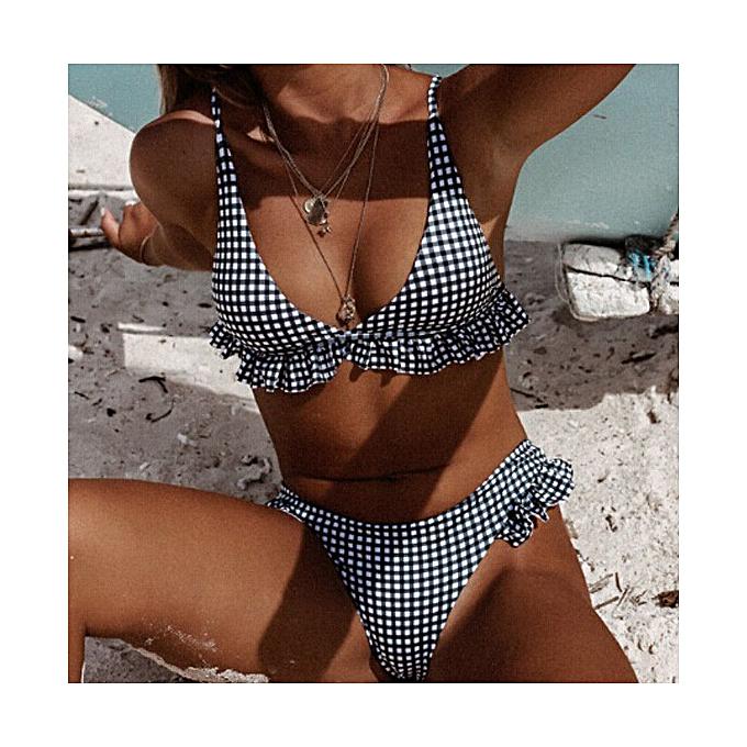 Autre été femmes Ruffles Push Up  Retro Padded Bikini Set noir Plaid maillot de bain plage Triangle High Waist maillot de bain Mayo à prix pas cher