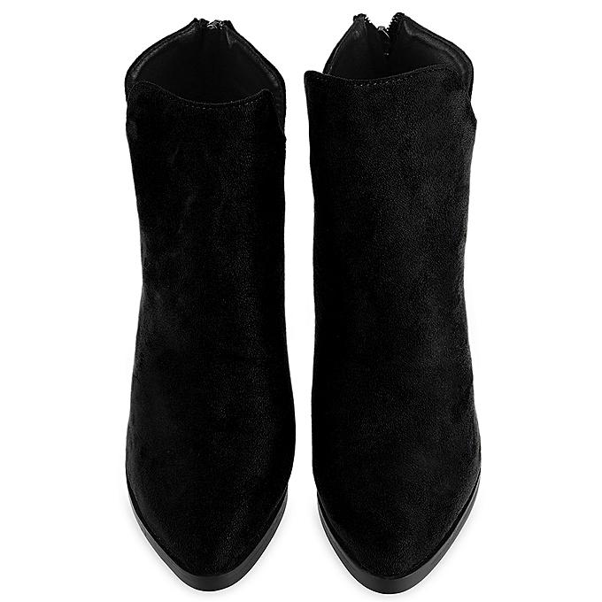 Fashion Stylish Zipper Design Buckle Buckle Design Decoration Pointed Toe   Thick Heel Ankle Boots à prix pas cher  | Jumia Maroc 3f3d52