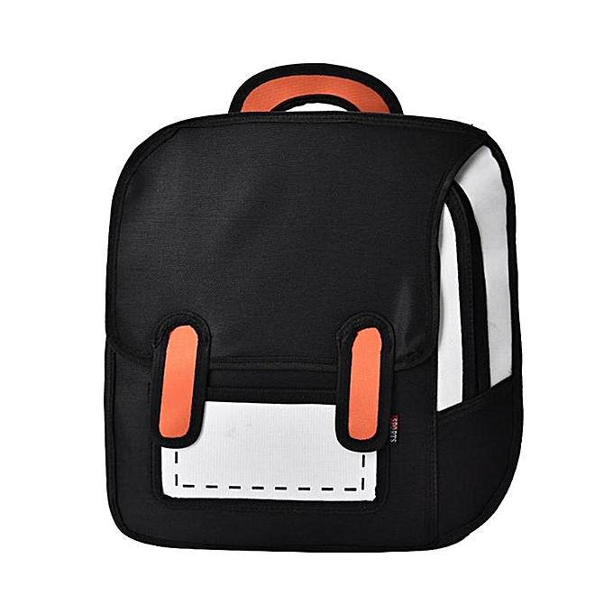 Fashion Flyone Fashion Cute Student Bags femmes Backpack 3D Jump Style 2D Drawing Cartoon Back Bag Comic Uni Knapsack Bolos FY0189 Z70 à prix pas cher