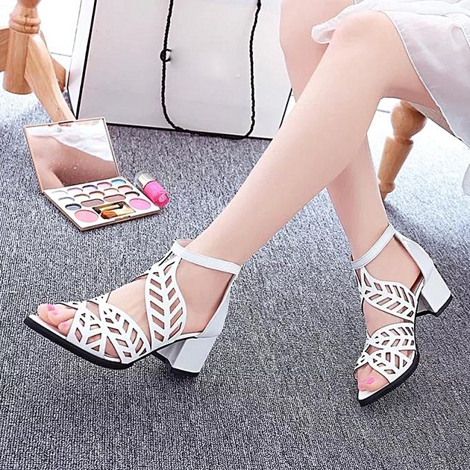 Generic Tcetoctre Vintage Summer femmes chaussures Sandals Platform Wedge High Heels Bohemian chaussures - blanc à prix pas cher