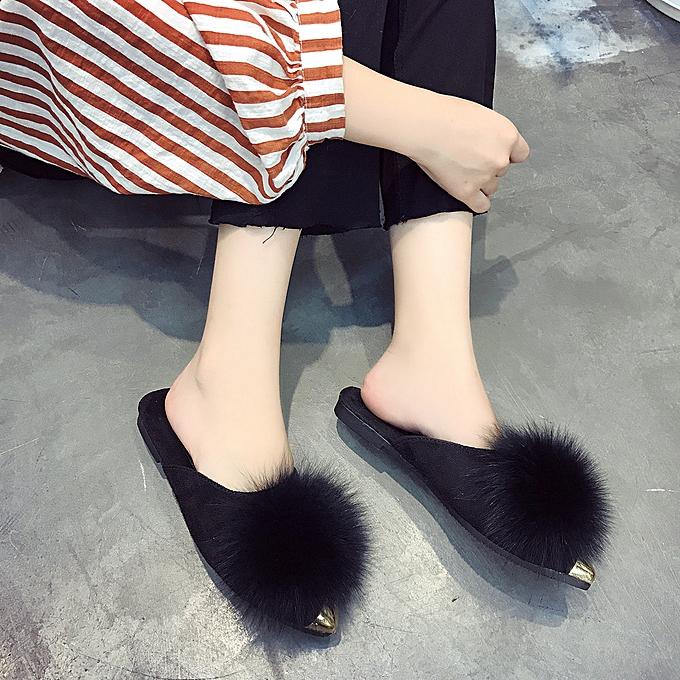 mode (Xiuxingzi) femmes Ladies Fluffy Faux Fur Flat Slipper Flip Flop Sandal chaussures BK 37 à prix pas cher