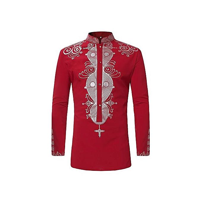 AFankara Royle Shirts Dashiki Men Shirts - rouge à prix pas cher