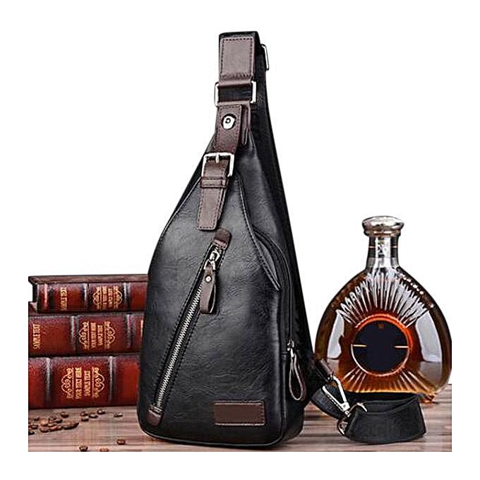 Fashion Men PU Leather Retro Portable Leisure Shoulder Bag Chest Bag Crossbody Bag à prix pas cher