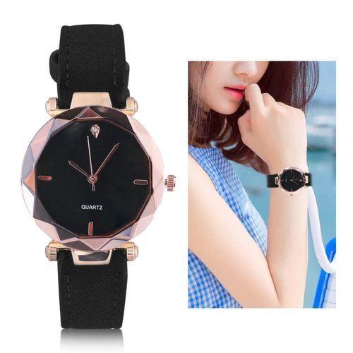 788a6d310 4Colors Female Analog Round Quartz PU Strap Watch Wristwatch With  Rhinestone Decoration