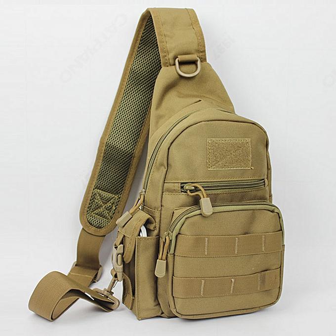 Other Men 1000D Waterproof Nylon Sling Chest Bag  Travel Riding Cross Body Messenger Casual Shoulder Packet Pouch New(Khaki) à prix pas cher