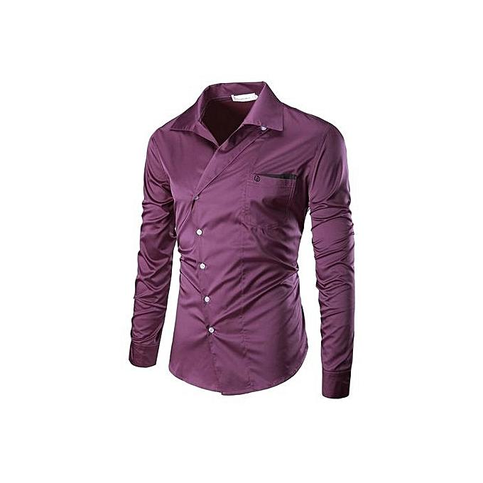 mode Pour des hommes mode Personality Oblique Placket Design Pure Couleur manche longue Robe Shirts violet à prix pas cher