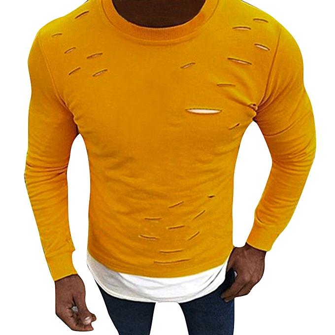 Fashion Men Muscle O-Neck Fake Two Pieces Slim Long Sleeve Hole Shirt Tops Blouses -jaune à prix pas cher