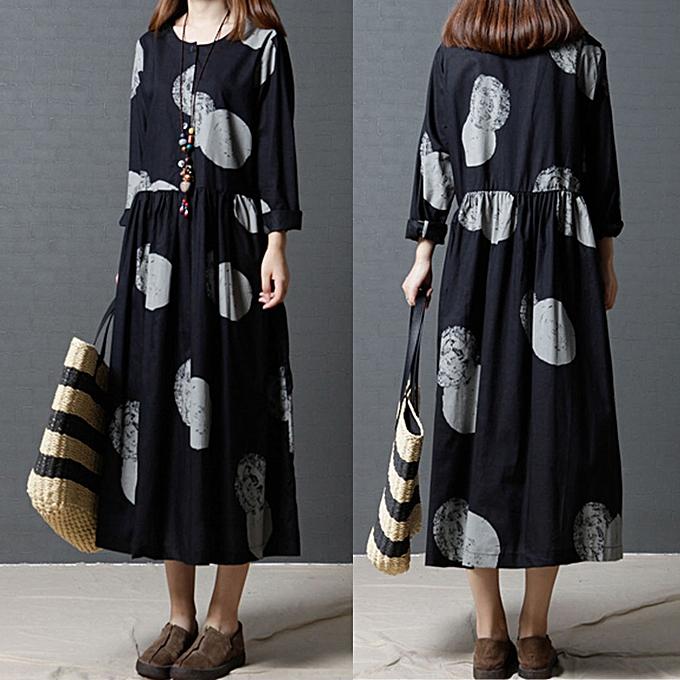mode femmes Plus Taille Cotton And Linen manche longues Loose Literature Long  Robe à prix pas cher
