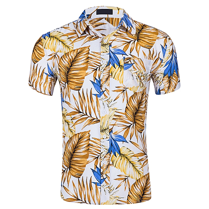 Fashion jiuhap store Men's New Short Sleeves Of Beach Wind Printing Fashion Cotton Short Sleeve Top à prix pas cher