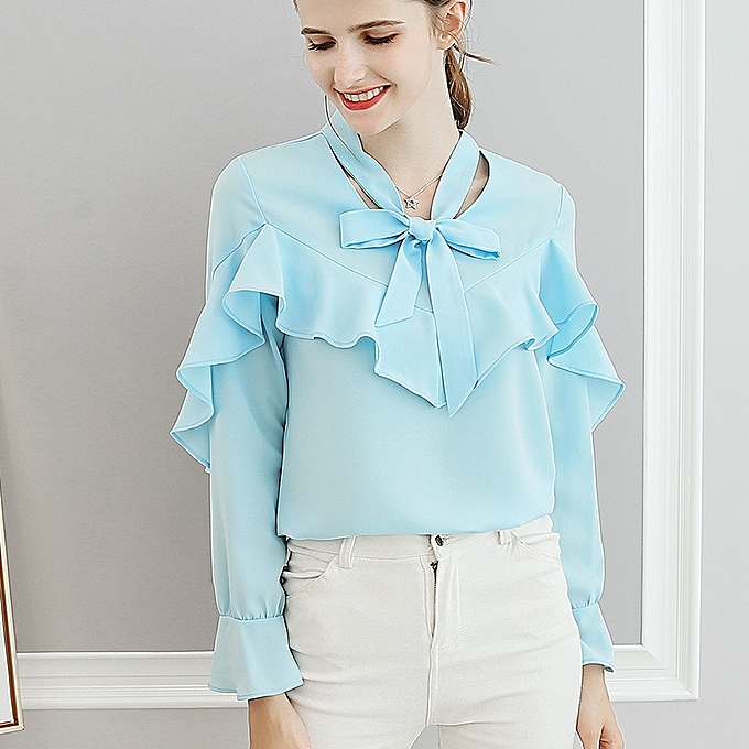 OEM New wild big Taille slim casual trend long sleeve solid Couleur blouse-bleu à prix pas cher