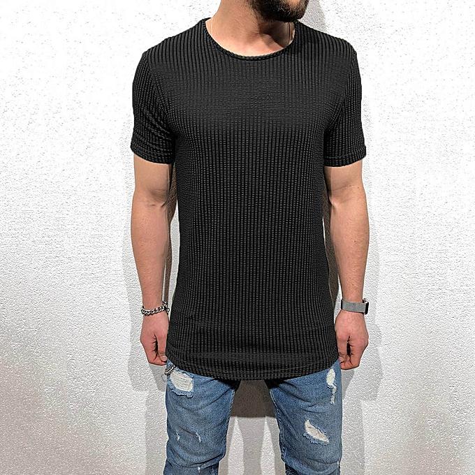 Fashion Men's Striped T-shirt Short Sleeve Crew Neck Muscle Basic Top Slim Fit Tee à prix pas cher