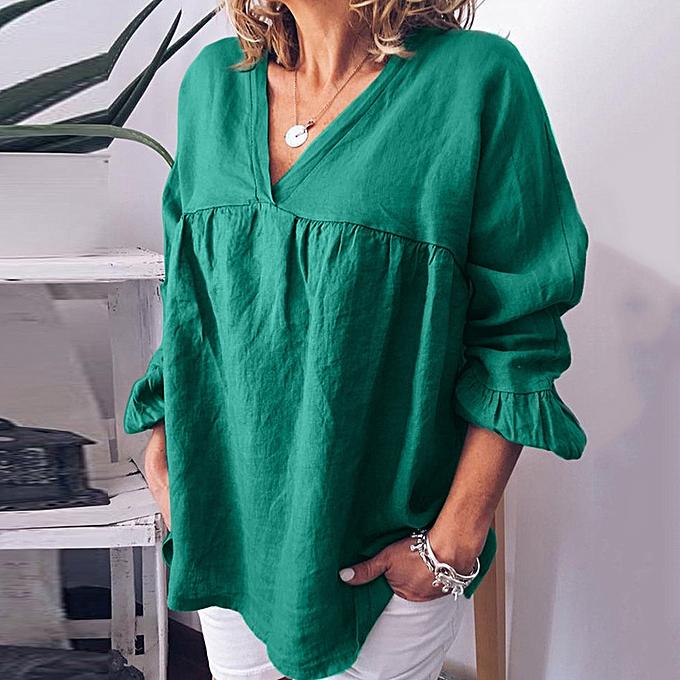 mode whiskyky store femmes& 039;s été mode Cotton-Linen Pure-Couleur V-collar Loose Décontracté hauts à prix pas cher