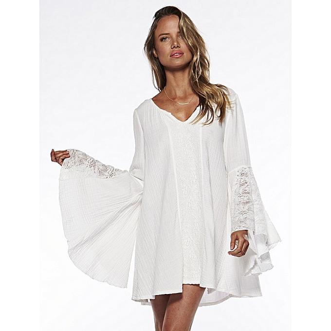 OEM nouveau arrivel V-Neck Loose grand Taille Speaker Sleeve Robe-blanc à prix pas cher