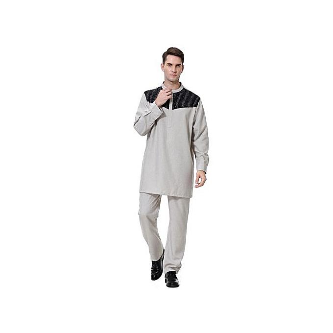 Other Muslim Arab Décontracté Abaya Kaftan Outfits Middle East Hommes& 039;s Robe Suit -gris à prix pas cher