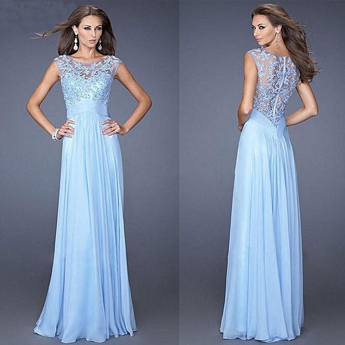 Fashion schoolcool femmes Formal Long Lace Prom Evening Bridesmaid Wedding Maxi Dress L à prix pas cher