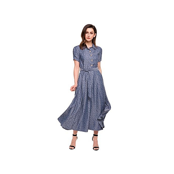 Sunshine femmes Vintage Style Turn Down Collar Puff Sleeve High Waist Maxi Swing Dress With Belt-Light bleu à prix pas cher