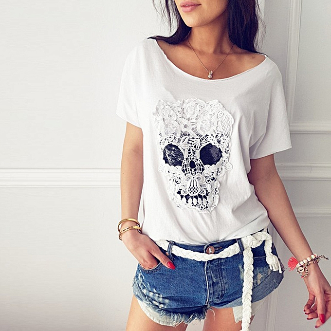 mode Plus Taille femmes hauts Vogue manche courte Lace Skull T-shirt Loose Tees hauts à prix pas cher