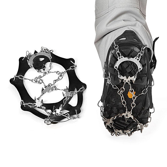 Generic Stainless Steel 18 Studs Ice Snow Climbing Cleats Crampons Gripper For bottes à prix pas cher